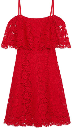 Valentino Cold-shoulder Cotton-blend Corded Lace Mini Dress