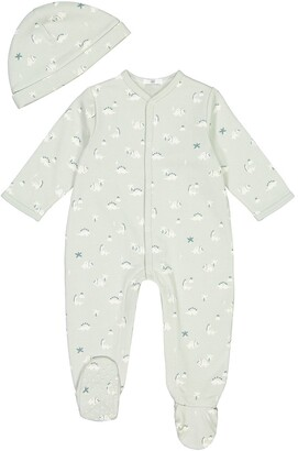 La Redoute Collections Cotton Sleepsuit and Hat with Dinosaur Print, Prem-2 Years