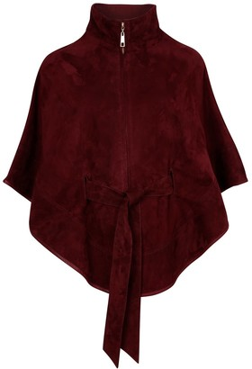 Zut London Suede Leather Cape With Belt - Wine