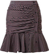 Veronica Beard Ruched Striped Cotton Mini Skirt - Midnight blue