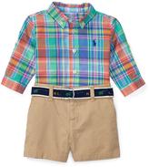 Ralph Lauren Green & Blue Madras Button-Up & Khaki Shorts Set - Infant