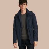 Burberry Showerproof Hooded Coat With Removable Warmer, Blue