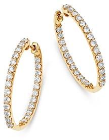 Bloomingdale's Diamond Inside Out Oval Hoop Earrings in 14K Yellow Gold