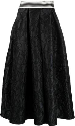 Talbot Runhof Celola1 poppy-pattern cloque skirt