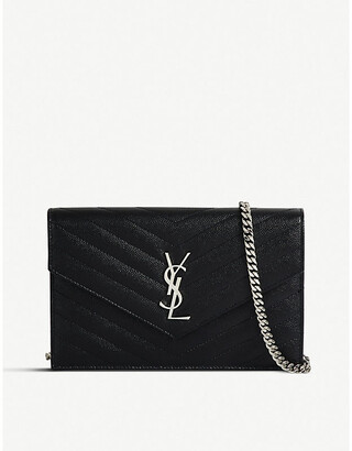 Saint Laurent Ladies Quilted Iconic Monogram Leather Envelope Wallet-On-Chain
