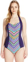 Anne Cole Women's Plus-Size Desert Diamond Shirred Halter One Piece Swimsuit