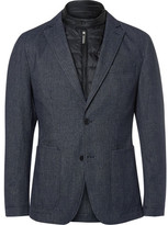 HUGO BOSS Blue Slim-Fit Nalmar Layered Quilted Shell and Cotton Blazer