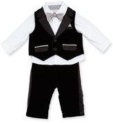 Miniclasix Satin-Trim Vest & Pants w/ Long-Sleeve Shirt, Black, Size 6-24 Months