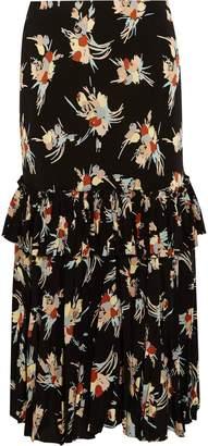 Marni Ruffled Printed Silk-crepe Midi Skirt