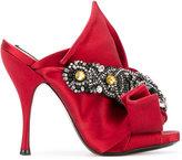 No.21 embellished bow mules - women - Leather/Satin Ribbon - 37