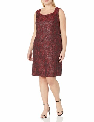 Kasper Women's Plus Size Printed Jacquard Sheath Dress