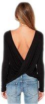 Bestisun Women's Loose Backless Long Sleeve Top Blouse T-shirt S