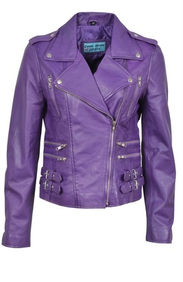 Carrie Hoxton Stylish Mystique New Ladies Purple Jacket Italian Real Lambskin Leather Biker Casual Style Design (16)