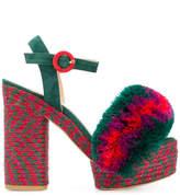 Castaner fur detail platform sandals