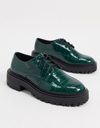 ASOS DESIGN Money chunky lace up flat shoes in forest green croc
