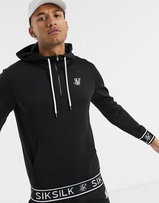 SikSilk zip through hoodie in black with branded hem
