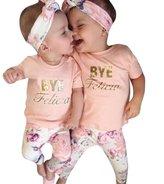 "Kemilove 1-4 Years 3Pcs Baby Girl "" BYE Felicia "" T-shirt+Floral Pants +Hairband Set"
