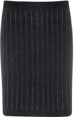 Barrie Striped Cashmere Mini Skirt