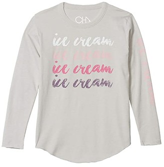Chaser Ice Cream Vintage Jersey Long Sleeve Shirttail Tee (Little Kids/Big Kids) (Misty) Girl's Clothing