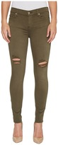 7 For All Mankind The Ankle Skinny Jeans w/ Destroy in Olive Women's Jeans