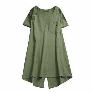 Lazzboy Women Tunic Lagenlook Solid Pocket Short Sleeve Top Plus Size UK 12-20 Shirt Dress Long Blouse Oversized(M(14)