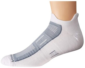 Wrightsock Endurance Double Tab (White/Grey) Crew Cut Socks Shoes
