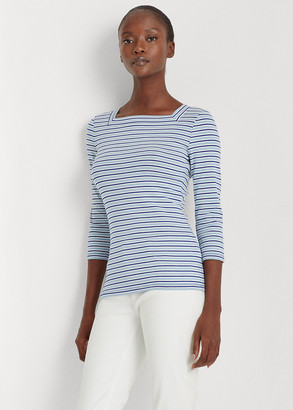 Ralph Lauren Striped Cotton-Blend Top