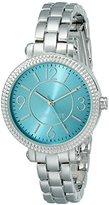 Nine West Women's NW/1697TLSB Teal Sunray Dial Silver-Tone Bracelet Watch