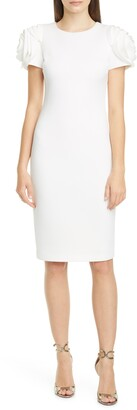 Badgley Mischka Rose Sleeve Cocktail Dress