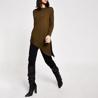 River Island Khaki asymmetric long sleeve knitted jumper