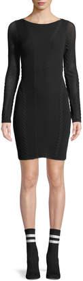 Rag & Bone Brandy Long-Sleeve Mesh Paneled Mini Dress