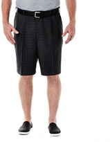 Haggar Big & Tall Cool 18 Windowpane Short - Classic Fit, Pleated Front, Expandable Waistband
