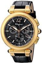 Salvatore Ferragamo Women's F77LCQ5009 SB09 Idillio Gold Ion-Plated Watch with Black Leather Band
