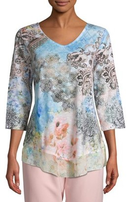 Time and Tru Women's 3/4 Sleeve Sublimation Top
