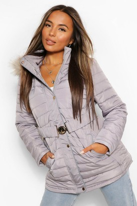 boohoo Petite Faux Fur Trimmed Puffer Belted Coat