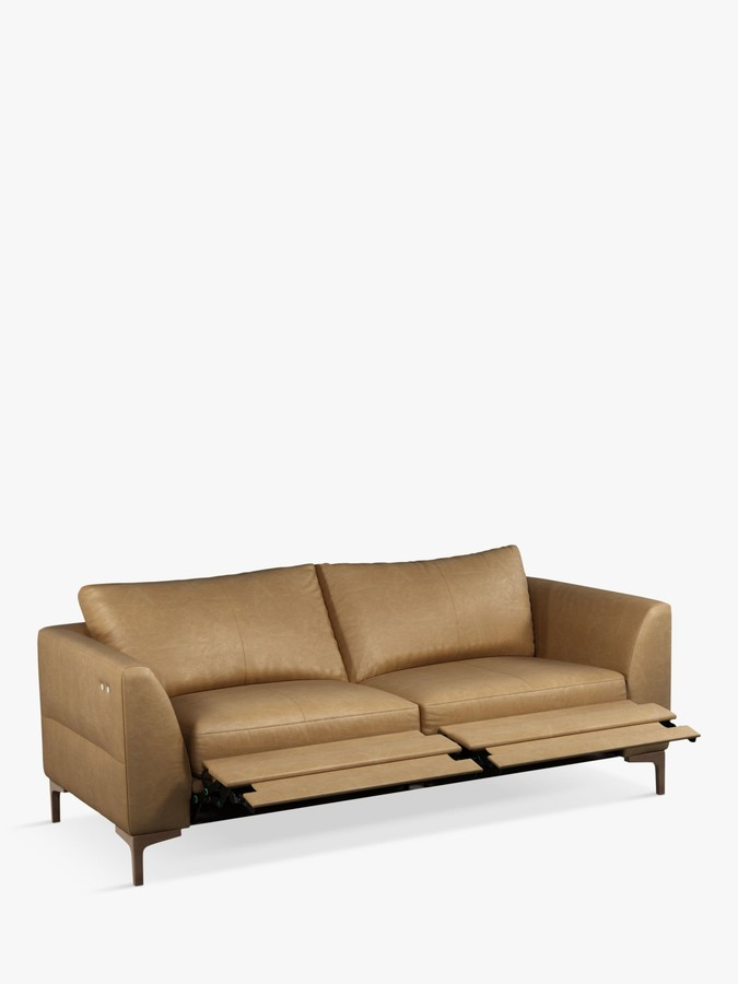 John Lewis & Partners Belgrave Motion Large 3 Seater Leather Sofa with Footrest Mechanism, Dark Leg