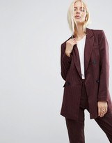 Asos Double Breasted Blazer In Pinstripe