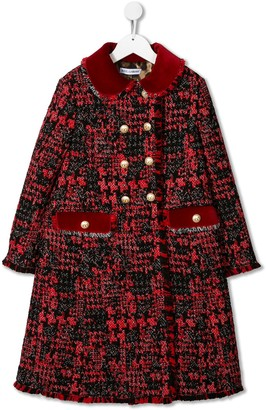 Dolce & Gabbana Kids Tweed Double Breasted Coat
