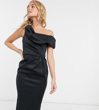 ASOS DESIGN Petite drape drop-shoulder midi pencil dress in black