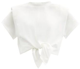 Isabel Marant Belita Padded-shoulder Knotted Cotton T-shirt - White
