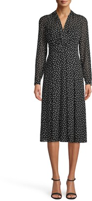 Anne Klein Scatter Print V-Neck Long Sleeve Midi Dress