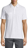Billy Reid Solid Short-Sleeve Pique Polo Shirt, White