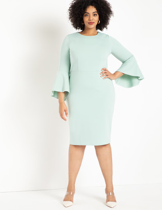ELOQUII Flare Sleeve Scuba Dress