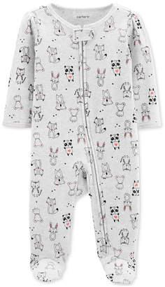 Carter's Carter Baby Girls 1-Pc. Animal-Print Cotton Footed Pajamas