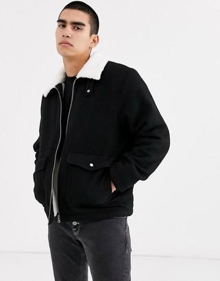 Weekday borg Justus jacket in black