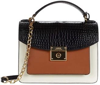 Lauren Ralph Lauren Heritage Lock Croc Saffiano Beckett 23 Satchel Medium (Black/Vanilla/Lauren Tan) Handbags
