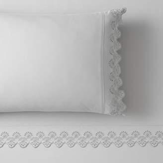Pottery Barn Teen Microfiber Eyelet Pillowcases, Set of 2, White