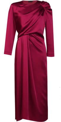 Lake Studio Draped Satin Midi Dress Size: 40