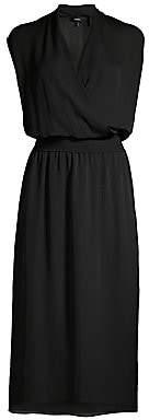 Theory Women's Silk Wrapped Blouson Midi Dress