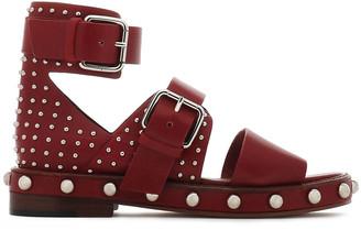 Red(V) Buckled Studded Leather Sandals